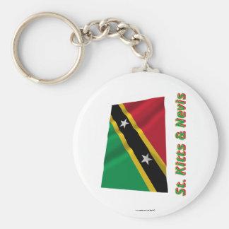 Heiliges Kitts und wellenartig bewegende Flagge Ne Schlüsselband