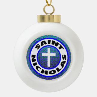 Heiliges Nicholas Keramik Kugel-Ornament