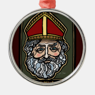 Heiliges Nicholas Rundes Silberfarbenes Ornament