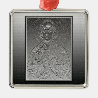 Heiliges Paraskeva [Sveta Petka] Quadratisches Silberfarbenes Ornament