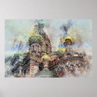 Heiliges petersbourg Kathedrale, Russland Poster
