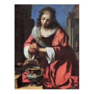 Heiliges Praxedis durch Johannes Vermeer Postkarte
