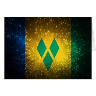 Heiliges Vincent; Grenadinen-Flaggen-Feuerwerk Karte