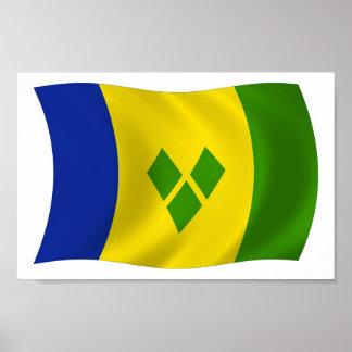 Heiliges Vincent-Grenadinen-Flaggen-Plakat-Druck Poster