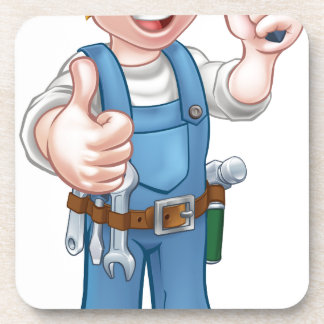 Heimwerker-Elektriker mit Schraubenzieher Getränkeuntersetzer