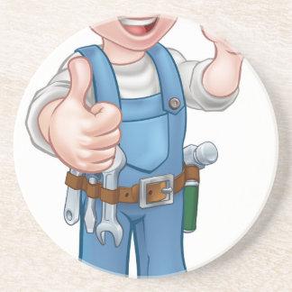Heimwerker-Elektriker mit Schraubenzieher Sandstein Untersetzer
