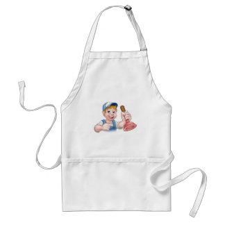 Heimwerker-Klempner mit Kolben-Cartoon-Charakter Schürze