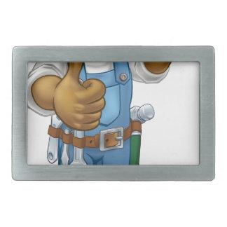 Heimwerker-Mechaniker oder Klempner mit Schlüssel Rechteckige Gürtelschnalle