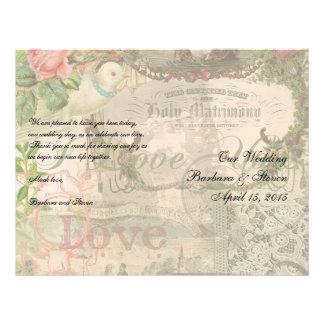 Heirat-Collagen-Vintage Hochzeit mit Blumen 21,6 X 27,9 Cm Flyer