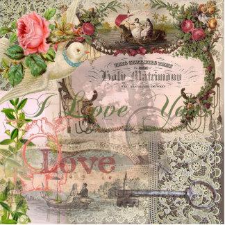 Heirat-Collagen-Vintage Hochzeit mit Blumen Freistehende Fotoskulptur