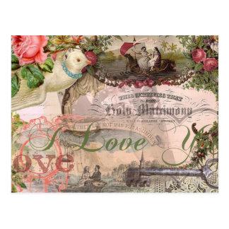 Heirat-Collagen-Vintage Hochzeit mit Blumen
