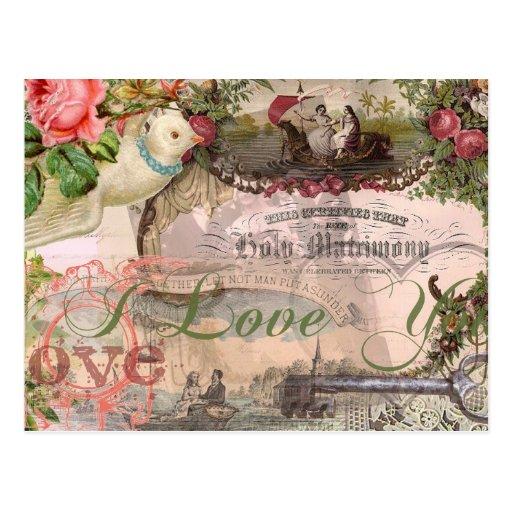 Heirat-Collagen-Vintage Hochzeit mit Blumen Postkarten