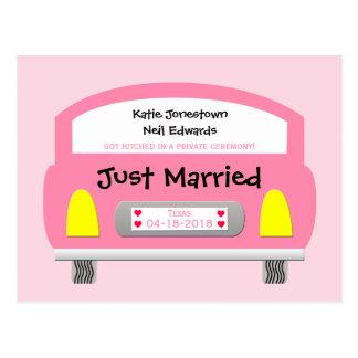 Heirat-Entlaufen-Mitteilungs-Postkarten-Rosa-Auto Postkarte