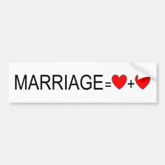 Heirat-Gleichheits-Autoaufkleber Autoaufkleber