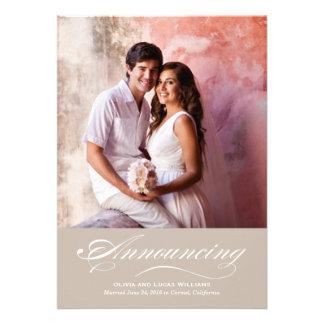 Heirat-Mitteilung u Empfang beige Taupe Personalisierte Einladung
