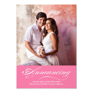 Heirat-Mitteilung u. Flamingo-Rosa des Empfangs-  12,7 X 17,8 Cm Einladungskarte