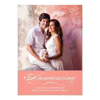 Heirat-Mitteilung u. korallenrotes Rosa des 12,7 X 17,8 Cm Einladungskarte