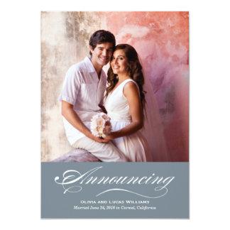 Heirat-Mitteilung u. Schiefer-Grau des Empfangs-  12,7 X 17,8 Cm Einladungskarte