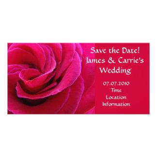Heirat-Mitteilungs-Rosa-Rosen-Blumenkarten Photo Karten