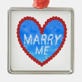 heiraten Sie mich Antrag Silbernes Ornament