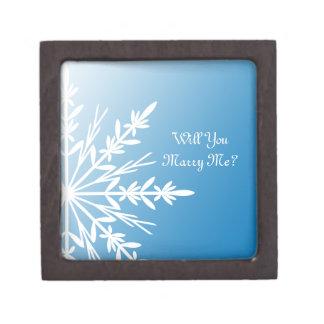 Heiraten Sie mich blauer Schneeflocke-Ring-Kasten Schachtel