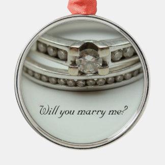 Heiraten Sie mich? Diamantringverzierung Silbernes Ornament
