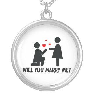 Heiraten Sie mich verbogen Knie-Frau u. Frau Versilberte Kette