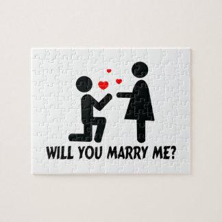 Heiraten Sie mich verbogen Knie-Mann u. Frau Puzzle