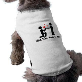Heiraten Sie mich verbogen Knie-Mann u. Mann Ärmelfreies Hunde-Shirt