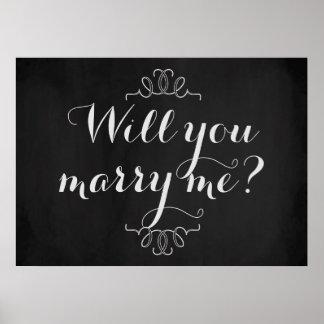 Heiraten Sie mich? Verlobungs-Tafel-Plakat Poster