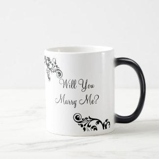 Heiraten Sie mich? Versteckte Mitteilung blühen Verwandlungstasse