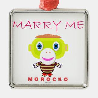 Heiraten Sie Mir-Niedlichen Affen-Morocko Silbernes Ornament
