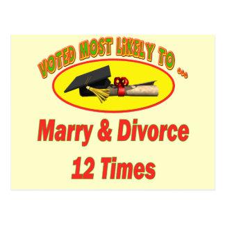 Heiraten Sie und scheiden Sie sich Postkarte