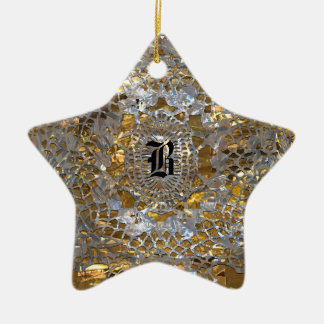 Heirloom-Stern-elegantes Monogramm Keramik Ornament