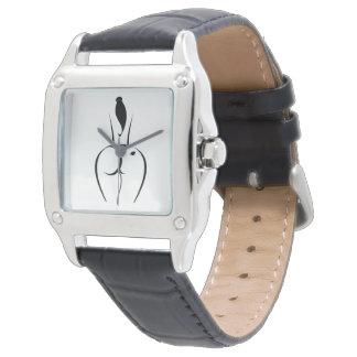 Heiße Frauen-Schwarz-Lederband-Uhr Armbanduhr