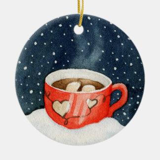 Heiße Schokoladen-Winter-Verzierung Rundes Keramik Ornament