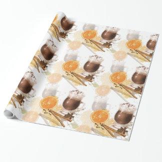 Heiße Schokoladen-Zimt-orange Jahreszeit-Grüße Geschenkpapier