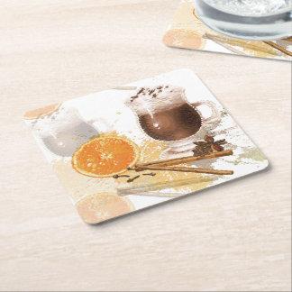 Heiße Schokoladen-Zimt-orange Jahreszeit-Grüße Rechteckiger Pappuntersetzer
