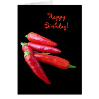 Heißer Chili-Paprikaschoten-Geburtstag Karten