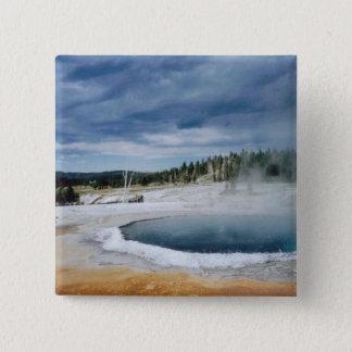 Heißer Frühling-Yellowstone Quadratischer Button 5,1 Cm