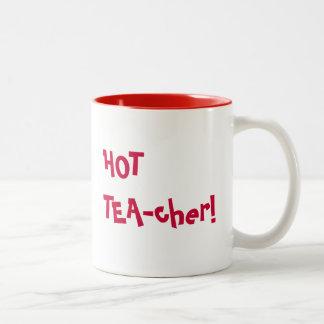 Heißer Lehrer - lustiges Wortspiel des HEISSEN Zweifarbige Tasse