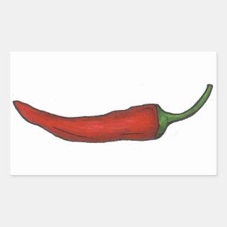 Heißer roter Chili-Pfeffer-würzige Rechteckiger Aufkleber