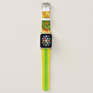 Heißer Sommer-Grün-orange Rot-abstrakter Name Apple Watch Armband