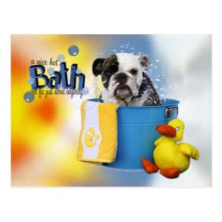 Heißes Bad - englische Bulldogge - Delilah Postkarte