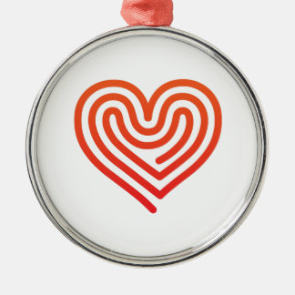 Heißes Herz Silbernes Ornament