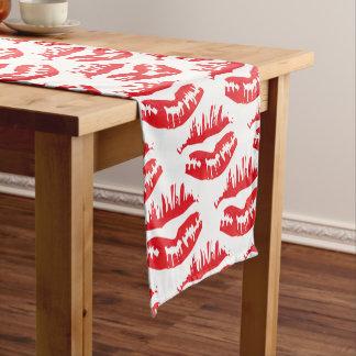 Heißes Kuss Rot Kurzer Tischläufer