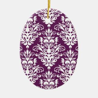 Heißes lila und weißes elegantes Damast-Muster Keramik Ornament