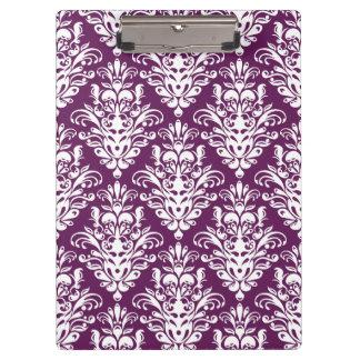 Heißes lila und weißes elegantes Damast-Muster Klemmbrett