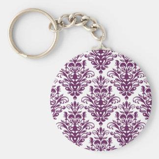 Heißes lila und weißes elegantes Damast-Muster Schlüsselanhänger