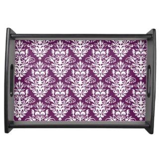 Heißes lila und weißes elegantes Damast-Muster Serviertablett